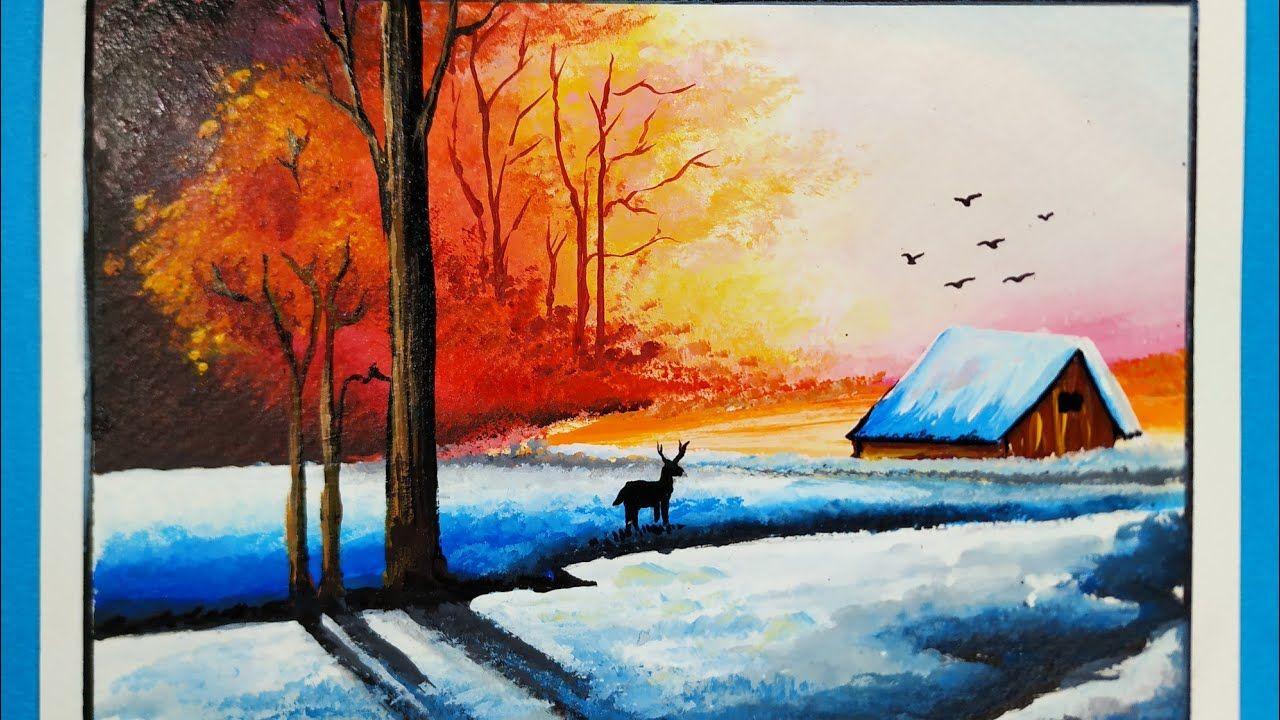 Winter Season Landscape Nature Scenery Painting Tutorial For Beginners Ramkrushna Arts Youtube In 2020 Scenery Paintings Painting Landscape Paintings