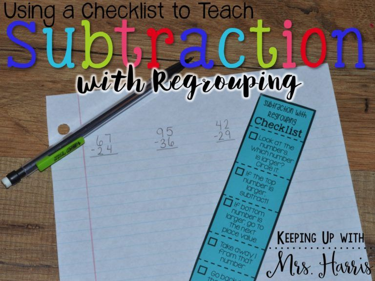 Subtraction with Regrouping Checklist is part of Teaching subtraction, Math subtraction, Math groups, Subtraction, Reading comprehension lessons, Teaching math - What is the hardest math concept and skill to teach 2nd graders  Subtraction with Regrouping! Those second graders that struggle with it, become third graders that still need to be reminded of the rules and steps  In the Fall, I created Subtraction with Regrouping Checklists for my 3rd grade math groups and guess what I …