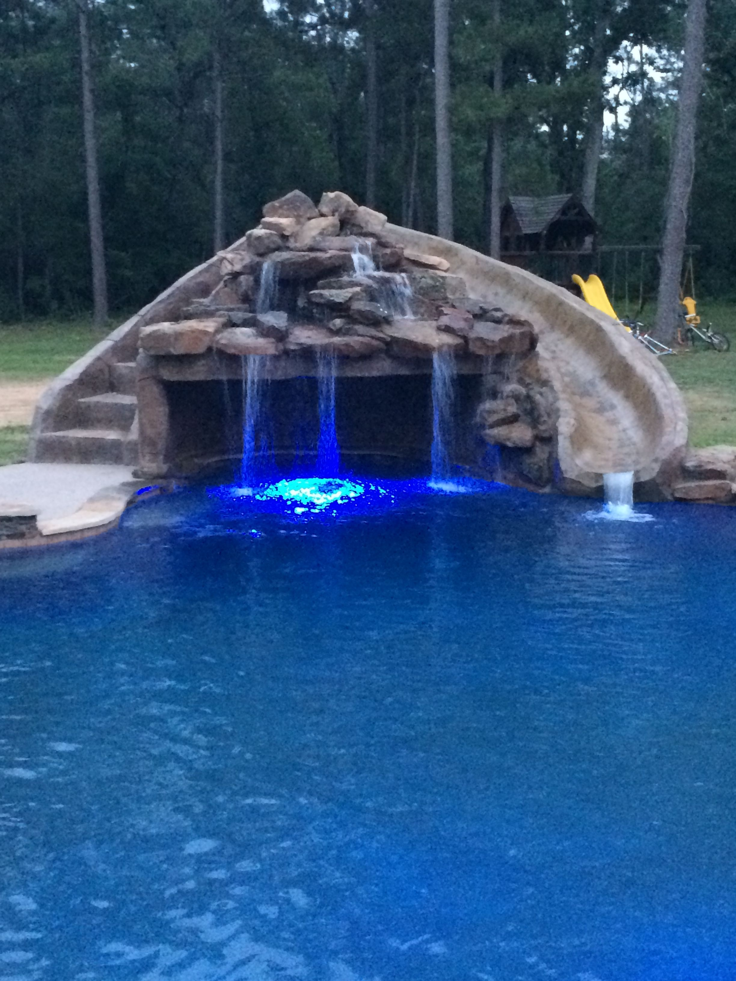 Inground Swimming Pool Slide Grotto Led Lights Swimming Pool