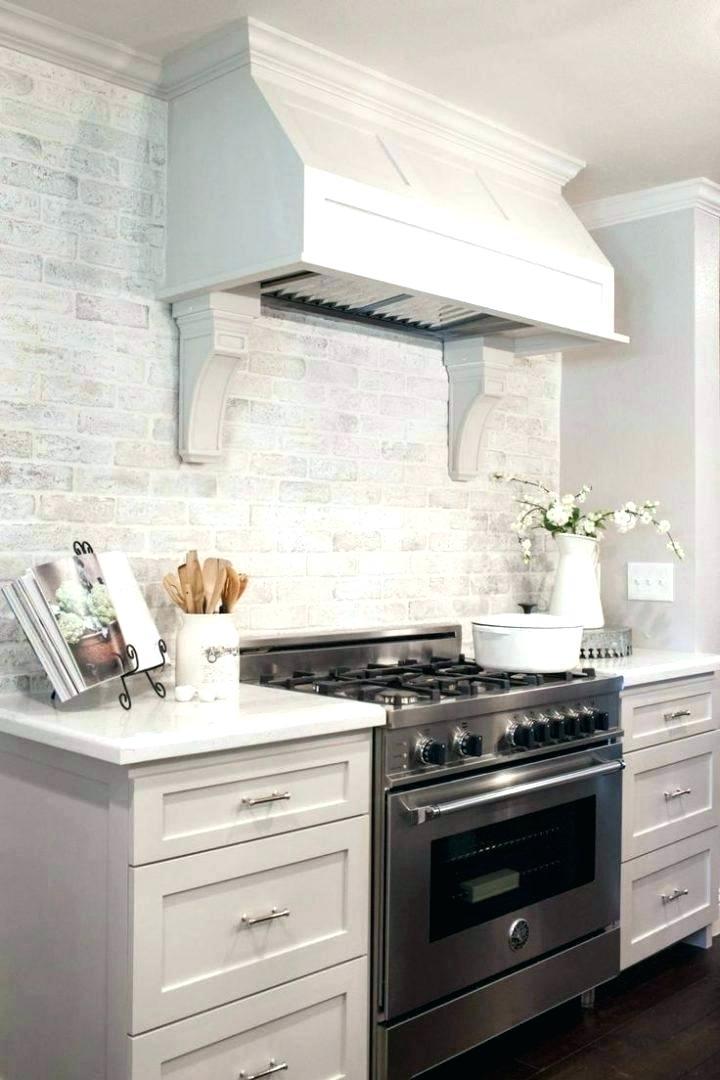 White Brick Backsplash Difrancesco Me Brick Kitchen Farmhouse Kitchen Backsplash Brick Backsplash Kitchen