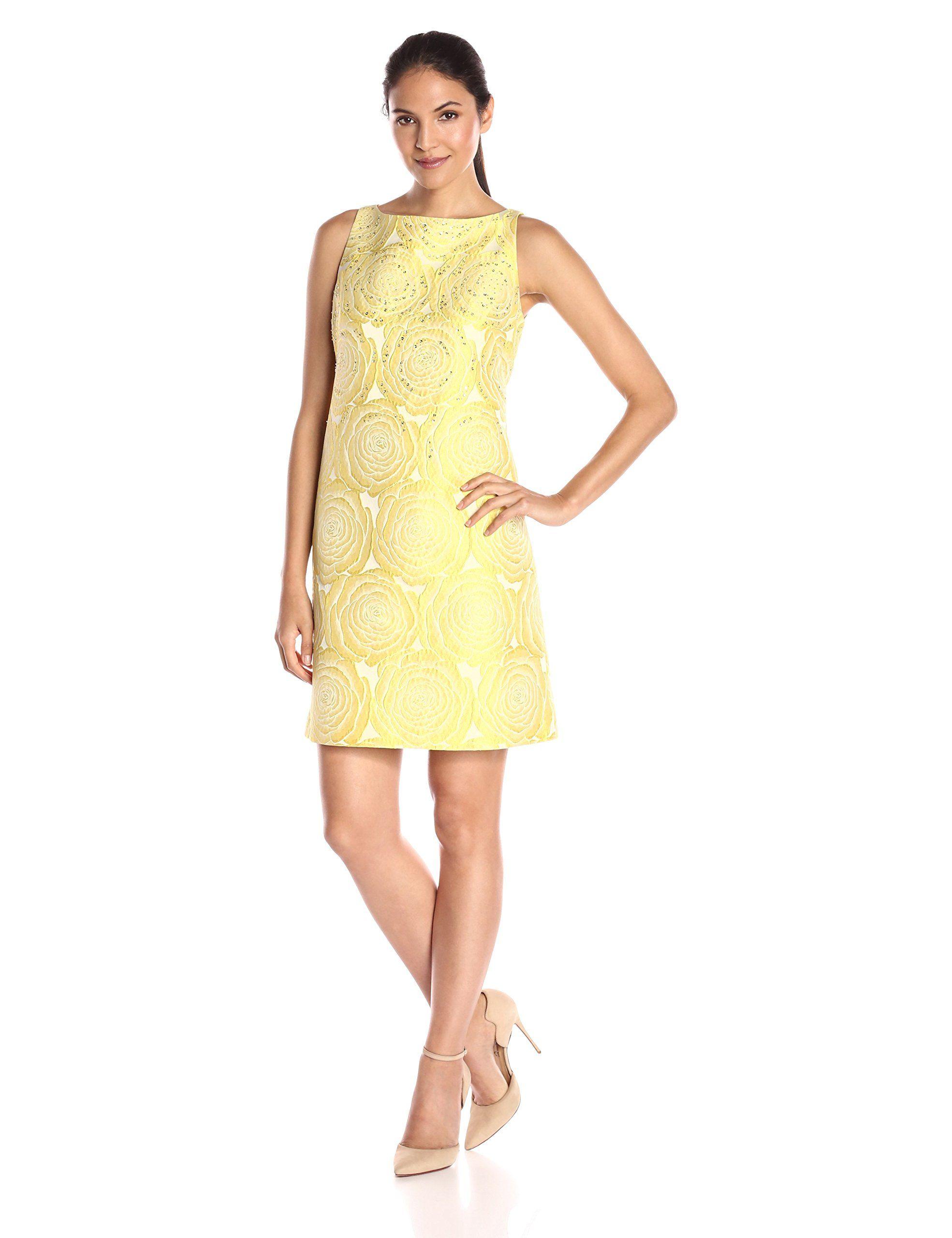Adrianna papell womens aline beaded yellow jacquard dress