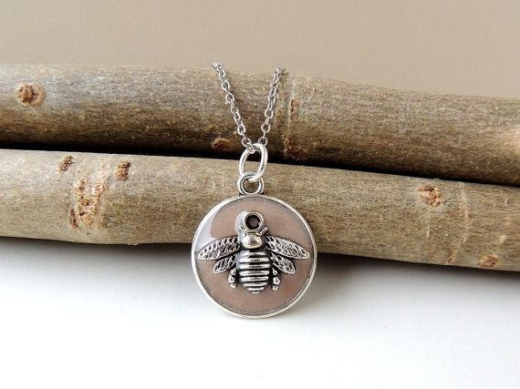 Bee Necklace Brown Pendant with Bee Charm by JustKJewellery
