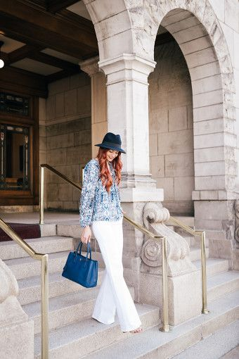 casual street style in white trousers
