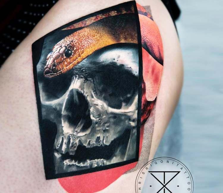 Skull with snake tattoo by chris rigoni original tattoos