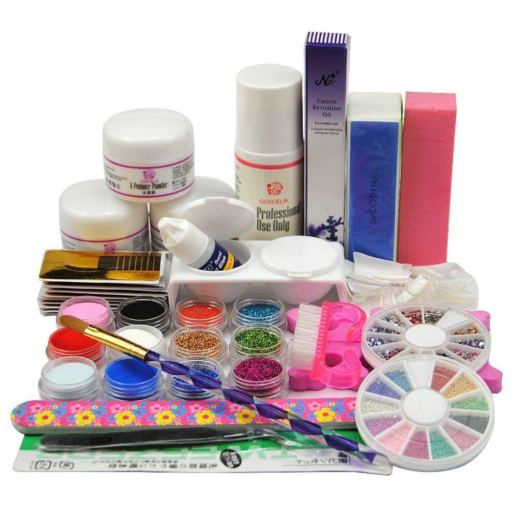 Coscelia Acrylic Nail Art 6 Colores Acrylic Powders Liquid 6pc