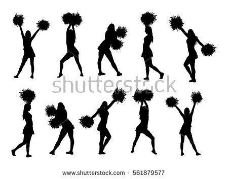 Cheerleader Dancers Figure Vector Silhouette Illustration