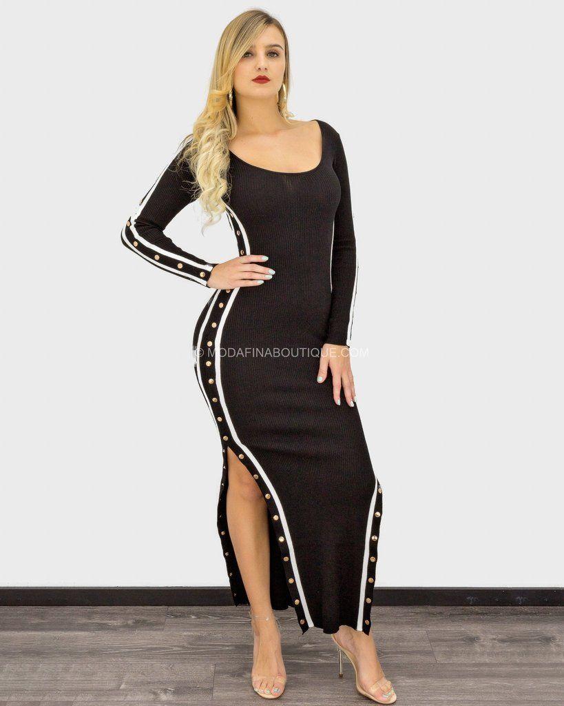 Hanna Long Sleeve Ribbed Button Down Maxi Dress Maxi Dress Dresses Mini Club Dresses [ 1024 x 819 Pixel ]
