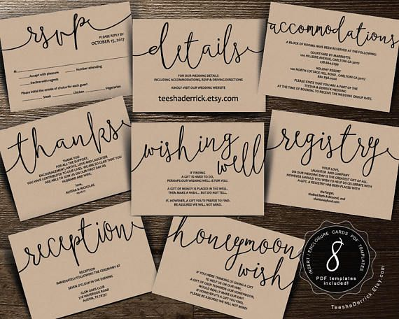 Wedding Insert cards PDF template (Instant download), Enclosure card