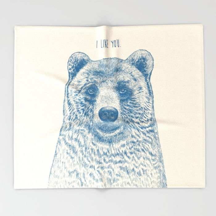 Bear (Ivory) Throw Blanket by Rachel Caldwell | Society6