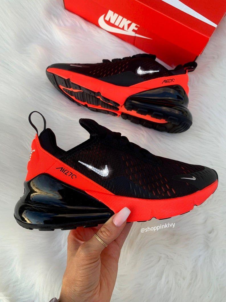 Black Crimson Air Max 270 Etsy In 2020 Black Nike Shoes Nike Shoes Bling Nike Shoes