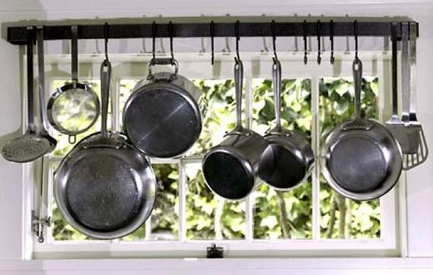 Kitchen Before and After: Old Fashion, New Function   Pot rack, Queen anne  and Kitchens