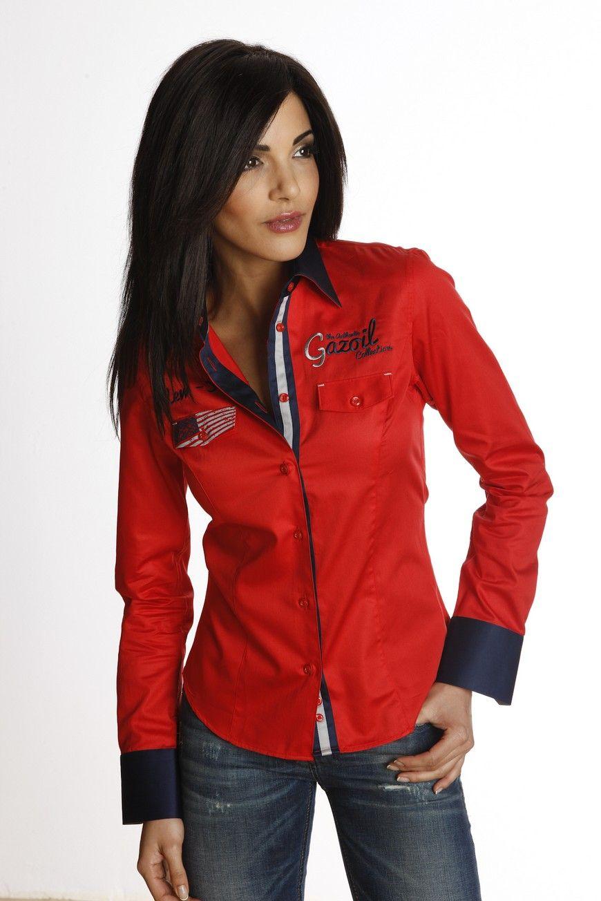 chemise femme rouge unie au col et poignets bleu marine l. Black Bedroom Furniture Sets. Home Design Ideas