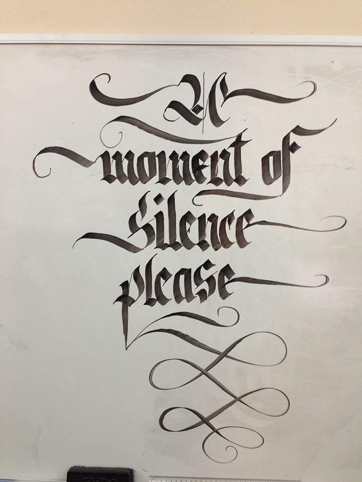 Whiteboard calligraphy