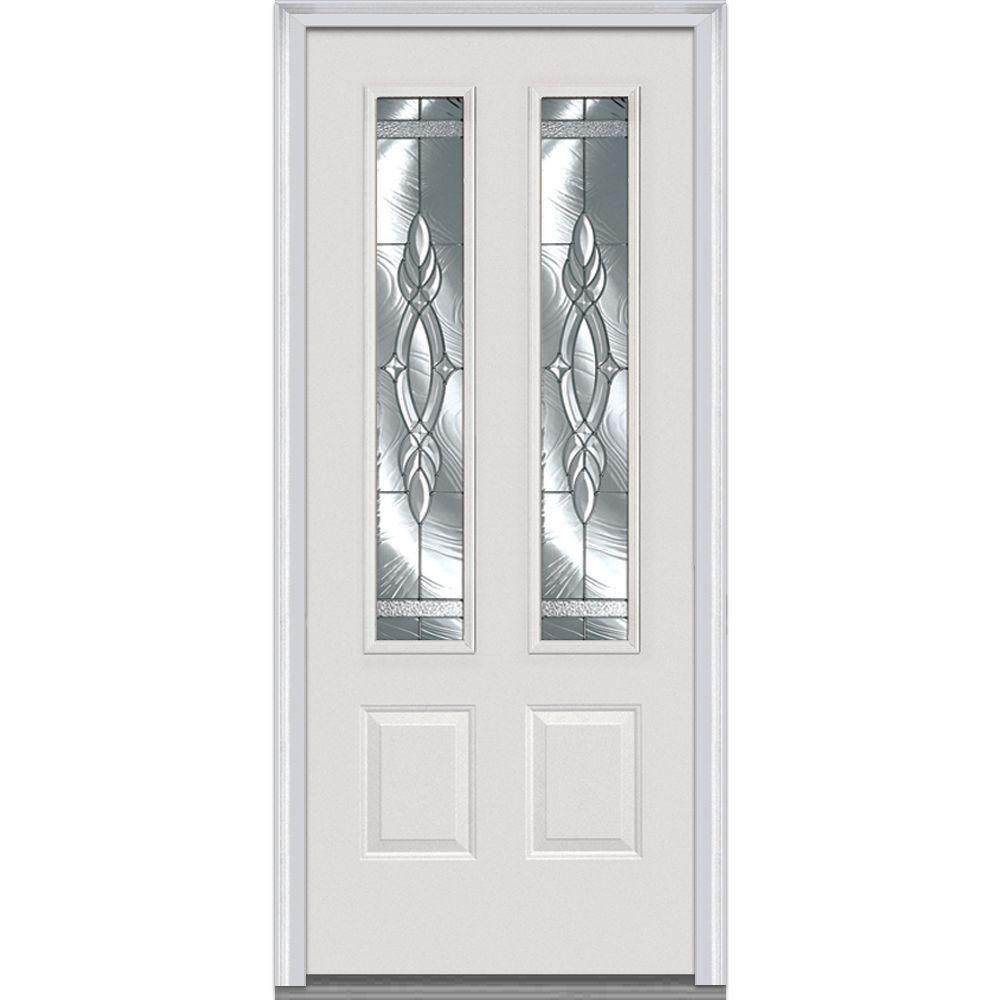 Milliken Brentwood Decorative Glass 2 Lite 2 Panel Primed Fiberglass Smooth Prehung Front Door Z000258r The Home De Steel Doors Exterior Glass Decor Mmi Door