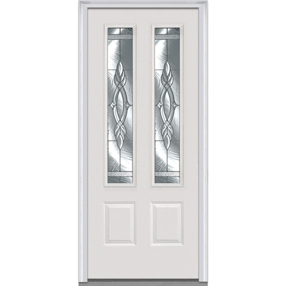 Milliken Brentwood Decorative Glass 2 Lite 2 Panel Primed Fiberglass