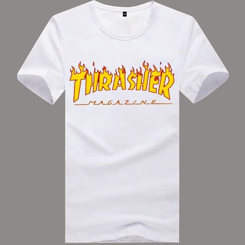 Fashion Tshirt Men Brand 2016 Summer Trasher Cotton T-shirt Skateboard  Magzien Hip Hop Hot Tops Tee Shirts Thrasher S-XXL  tshirtmen 7657eb185