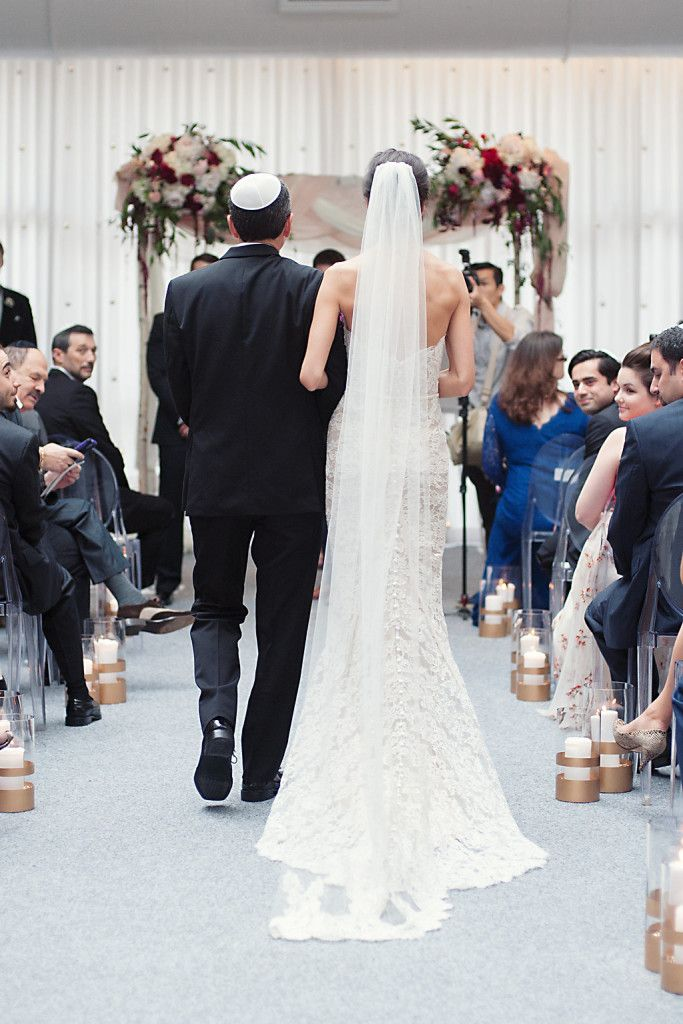 Bride Walking Down Aisle With Her Father In A Summer Jewish Wedding Ceremony At The Joule