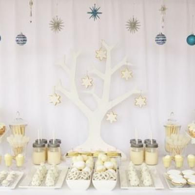 white christmas dessert table party food ideas