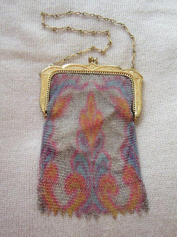 Antique 20s Whiting & Davis Dresden baby mesh evening purse handbag Paisley design