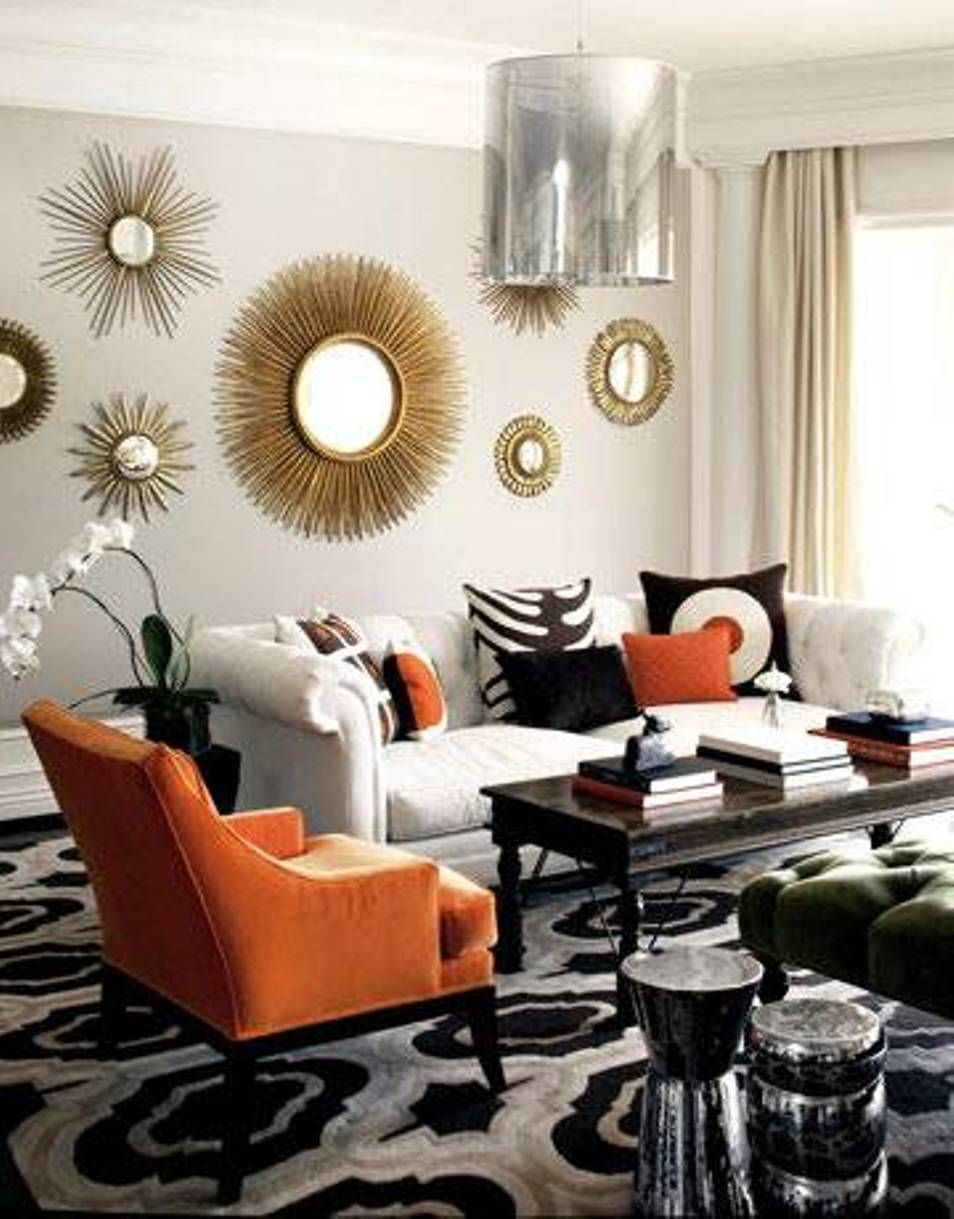 Home design and decor decorative sunburst mirror wall for Fancy mirrors for living room