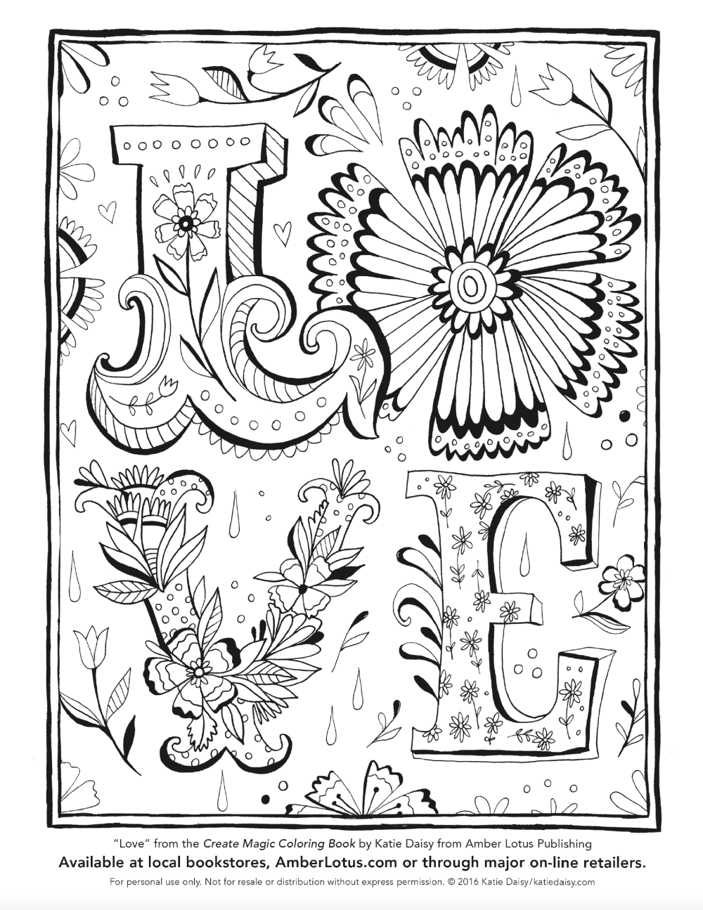 Love Coloring Page By Katie Daisy From The Create Magic Coloring Book Love Coloring Pages Coloring Books Bear Coloring Pages
