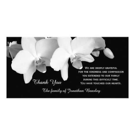 Sympathy Thank You Memorial Photo Card  Orchids Zazzle