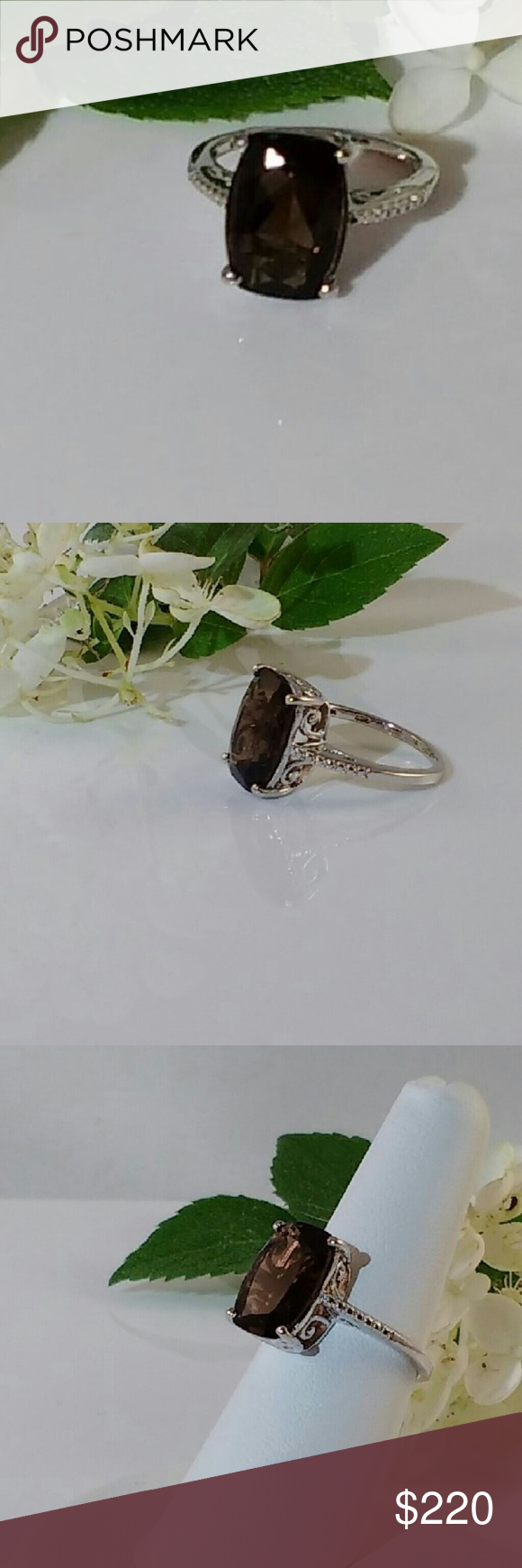💐NEW LISTING💐 6.5 ct Smoky Quartz Ring You are assured of a look that will never go unnoticed!  The magnificent 6.5 carat rectangular cushion cut, smoky quartz gemstone measures 10x14mm. The stunning genuine smoky quartz is set on a platinum over sterling silver ring. New.  Measurements and weights are approximate. Photos may be enlarged to show detail. Jewelry Rings