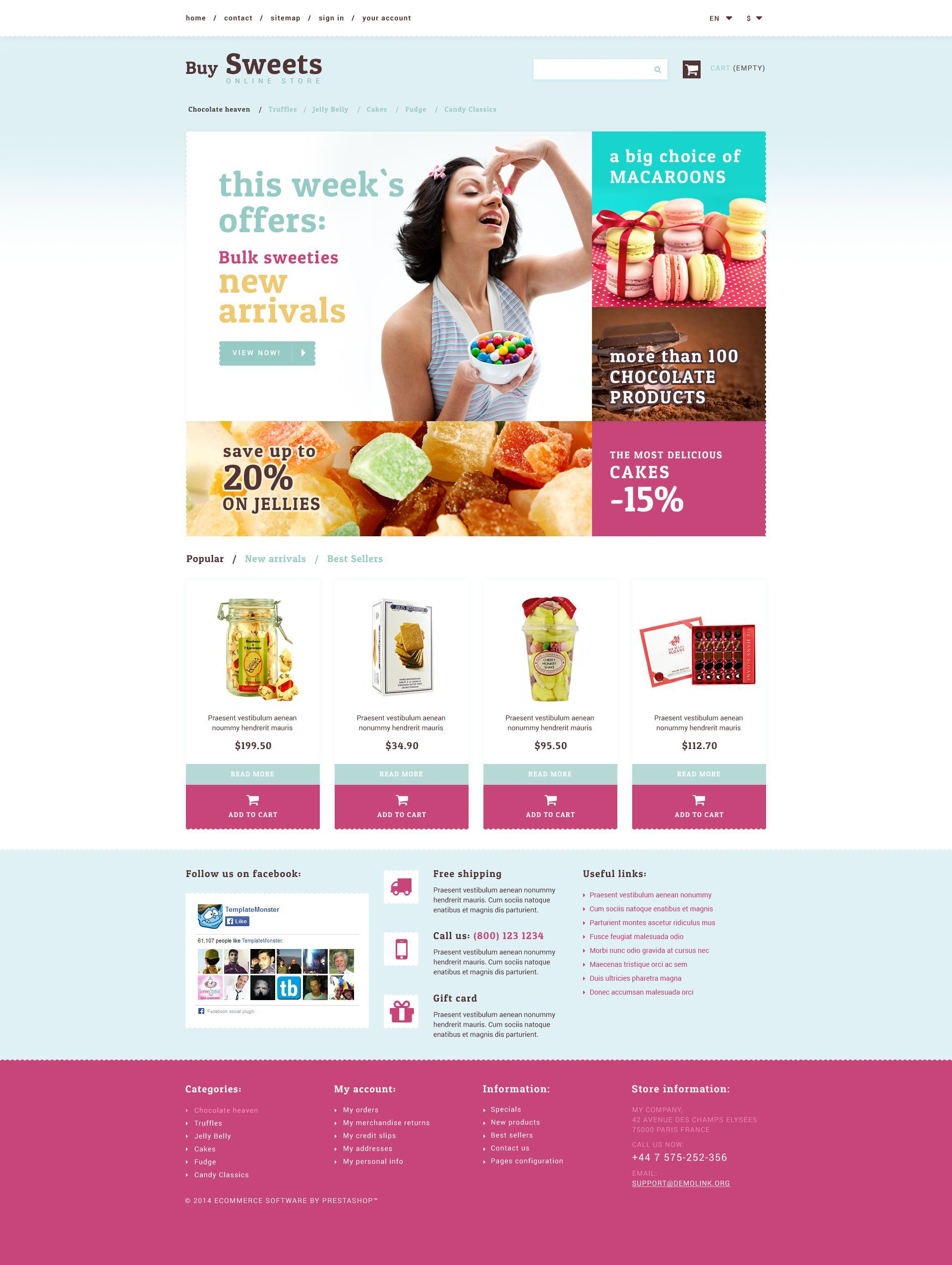 Sweet Store PrestaShop Theme #52692