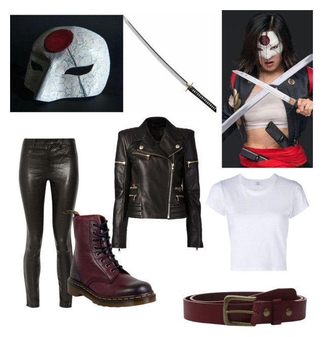 """""""Katana"""" by ghost0boi ❤ liked on Polyvore featuring Balmain, J Brand, Dr. Martens, Will Leather Goods and RE/DONE"""