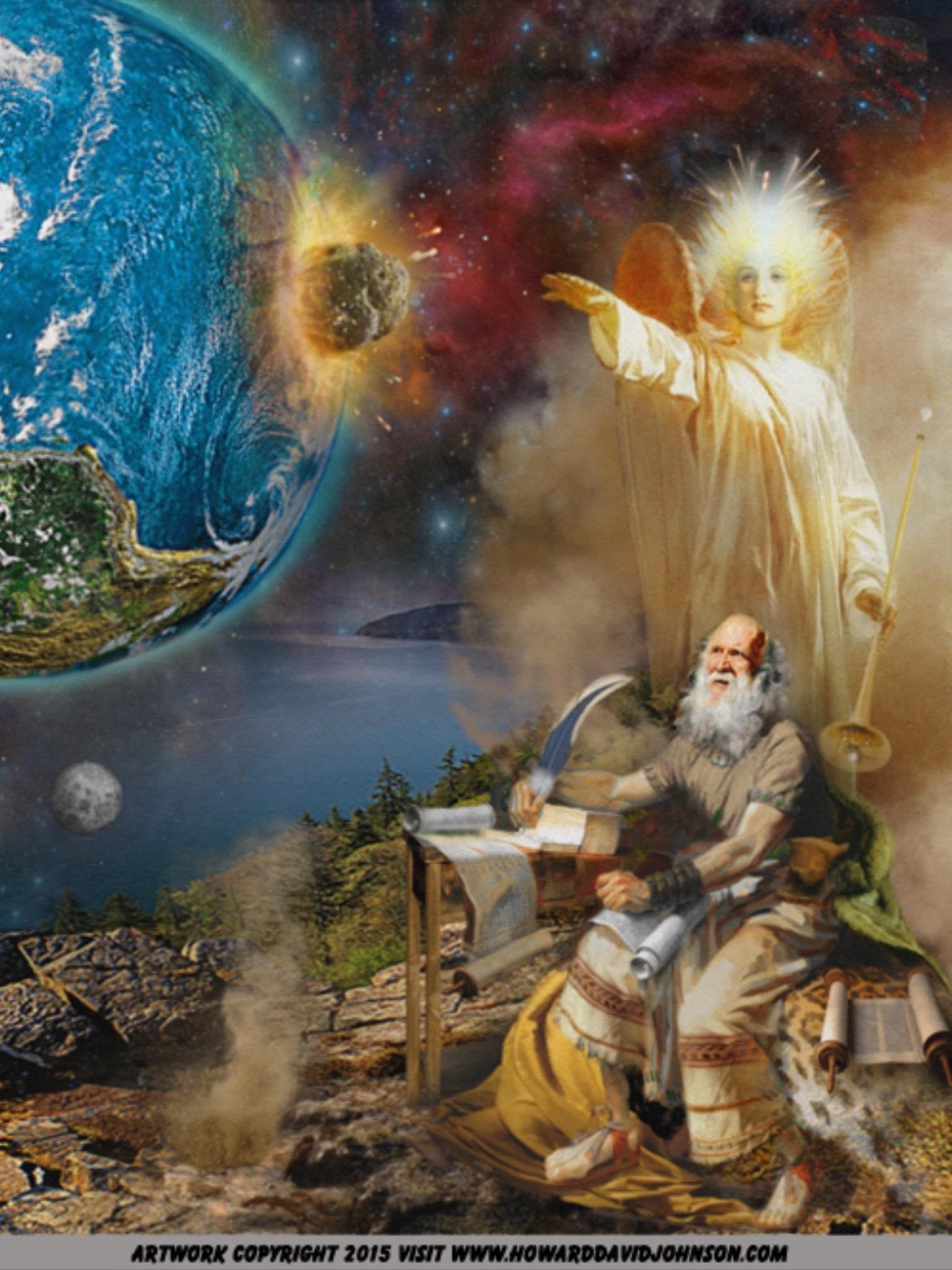 Angel With Trumpet. Vision Of Apocalypse. Revelation 8 8-9 Kjv And