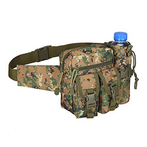 Men Tactical Fanny Pack Hiking Water Bottle Pockes Belt Chest Sling Waist Bag UK