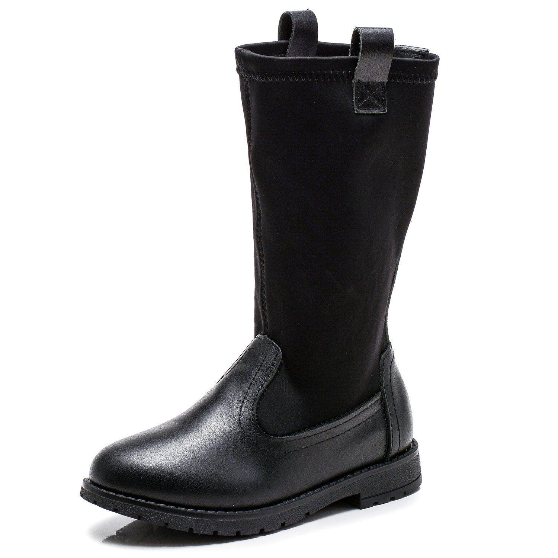 UBELLA Girls Black Leather Knee high Flats Martin Boots Toddler