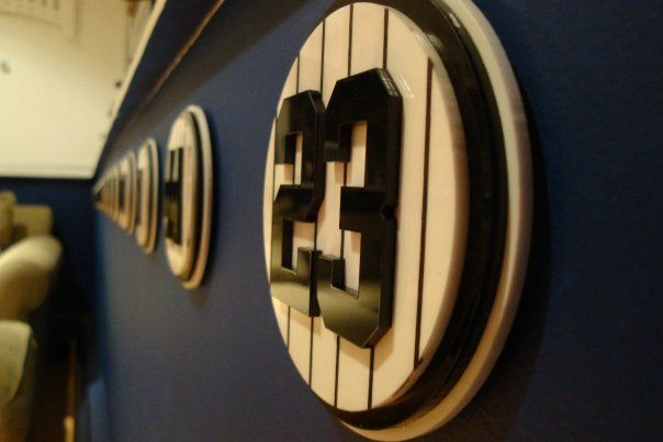 YANKEES ROOM  Retired numbers  This is amazing! Must have for my dream sports room! ;) is part of Yankee room -