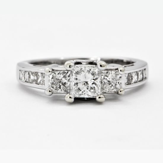 Princess Cut Three Stone Ring | Perrys Fine Antique & Estate Jewelry