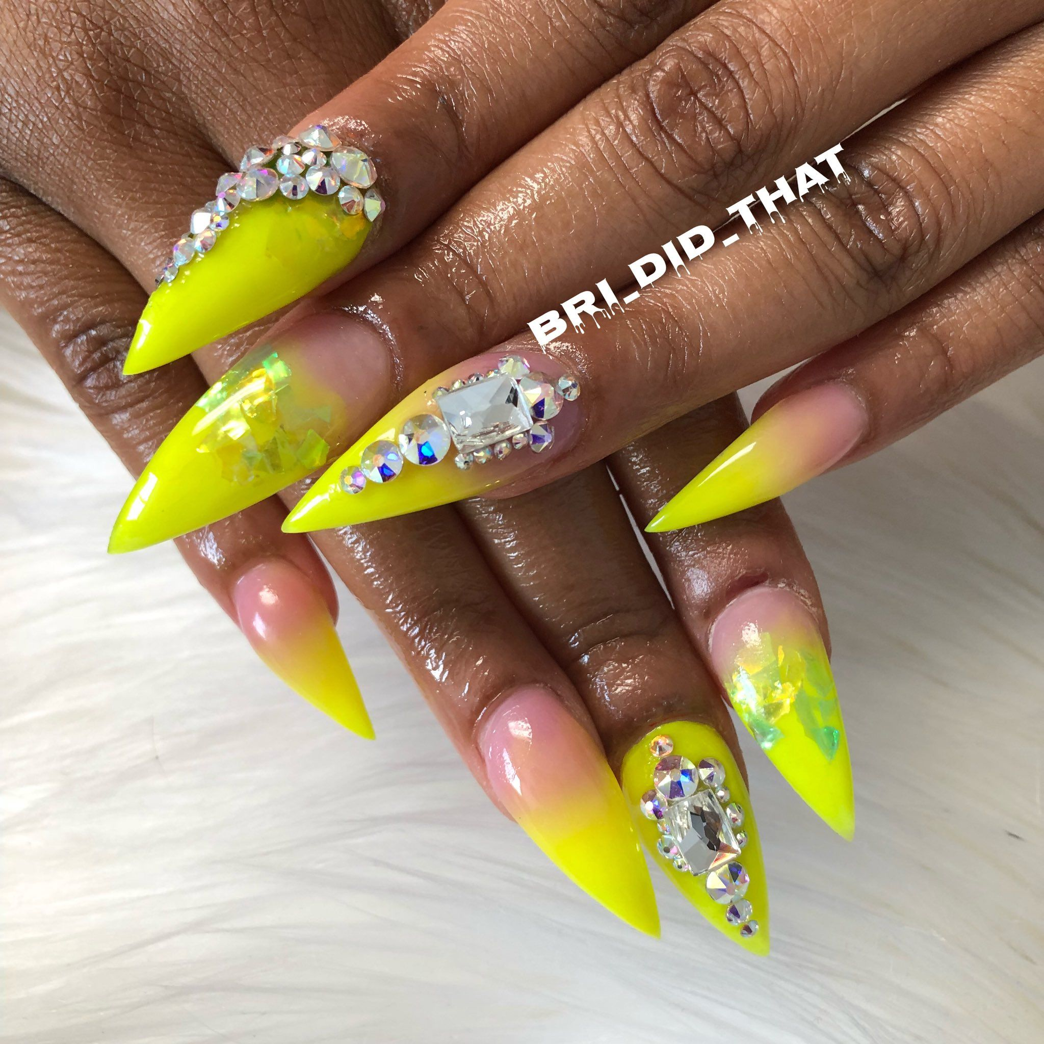Yellow Nail Polish Toenails: Rhinestone Nails, Nail Designs, Nail Art