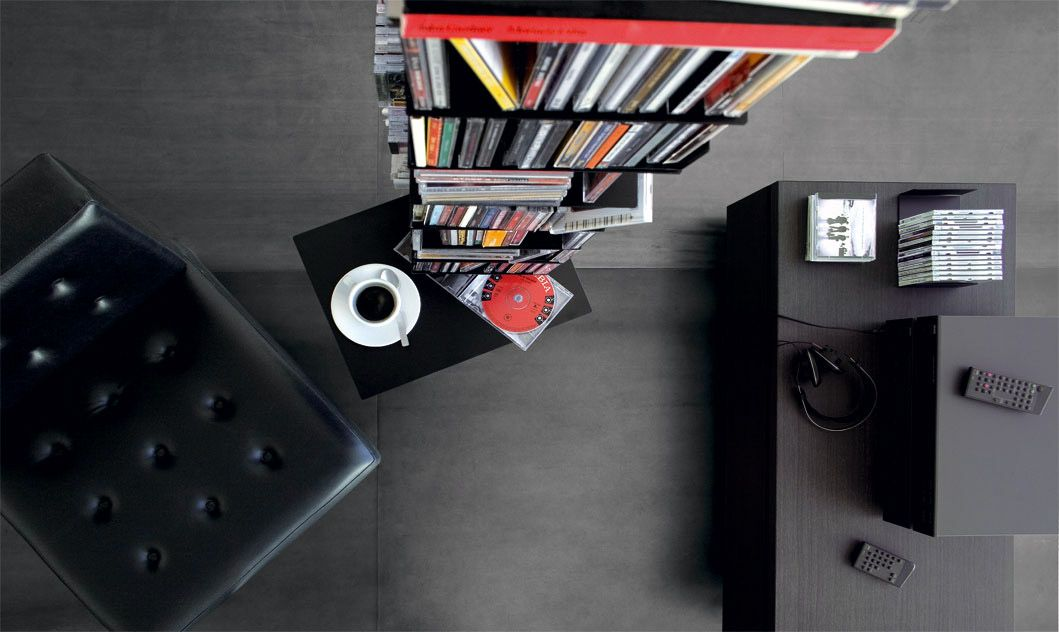 cd holder column bookcase, system is characterised by extending aluminium profiles, which adapt to various room heights.