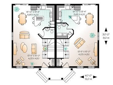 Duplex Design 027m 0009 Square Feet 2400 Total Levels 1200 1st Floor 1200 2nd Floor Bedrooms 3 Full Baths 1 5 Dimen Duplex Design House Plans How To Plan