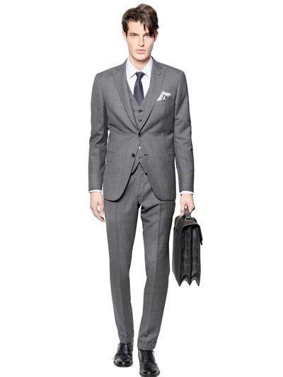 192265dfd6 BRIONI BRACCIANO WOOL/SILK 3 PIECES CHECK SUIT, GREY. #brioni #cloth #suits