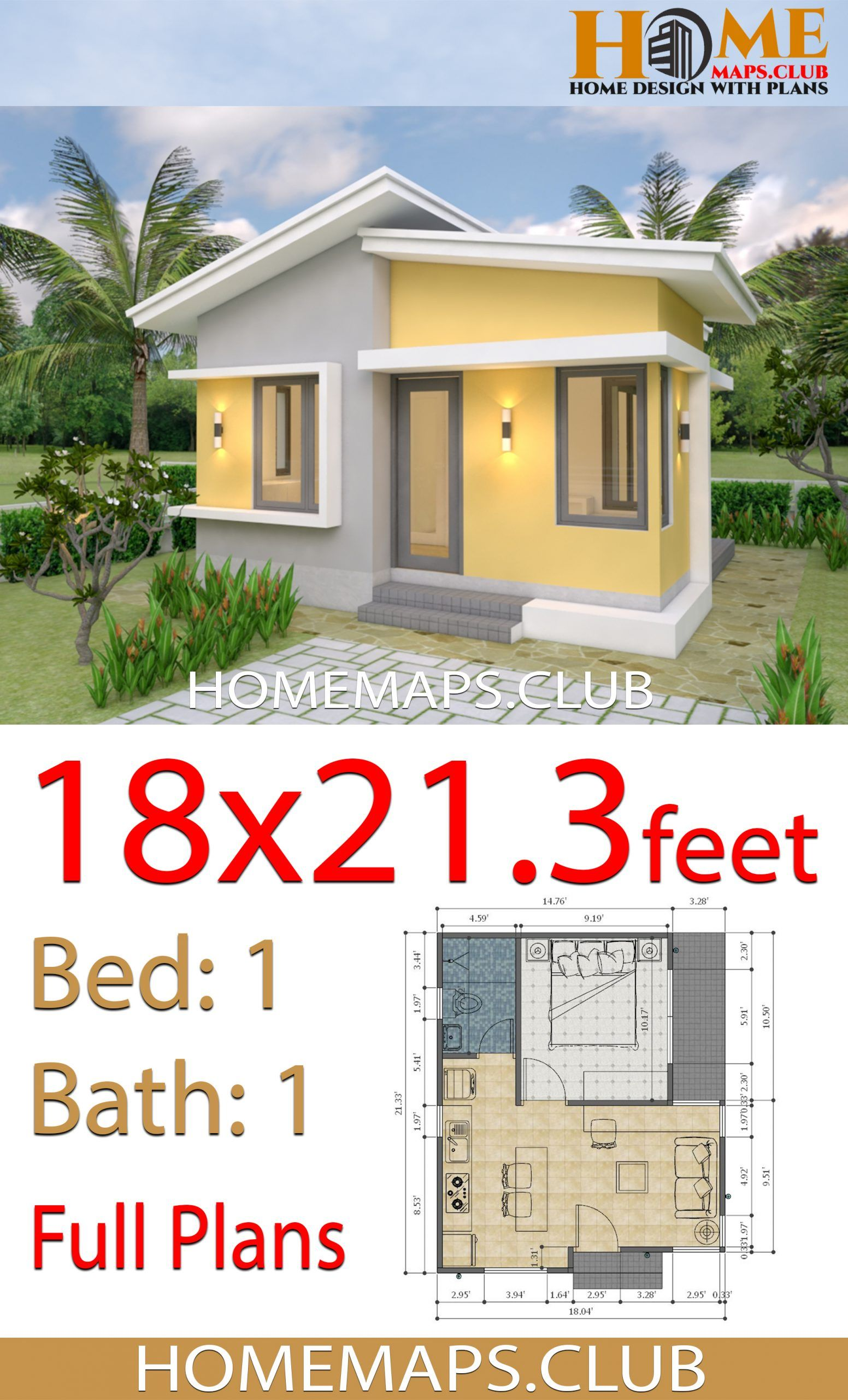 House Plans 18x21 3 Feet With One Bedroom Shed Roof Small House Design Plans Small Pool Houses House Plans