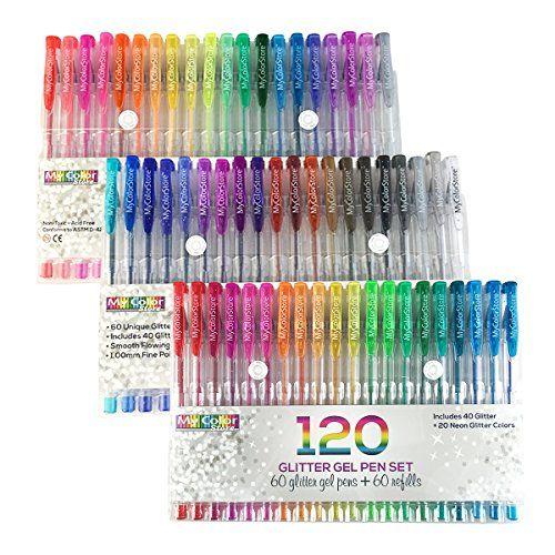 My Color Store 120 Glitter Gel Pens Set 60 Unique Color Glitter Pens 60 Glitter Gel Ink Pen Refills Best Gel Pens For Ad Gel Pens Gel Pens Set Glitter Pens