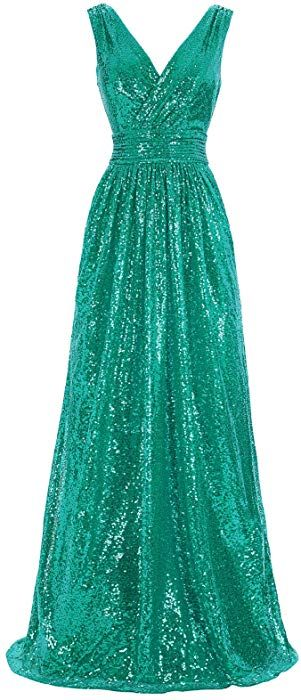 a70a01a8b734a4 Kate Kasin V-Neck Long Sequined Dresses for Women Evening Party Green USA2  KK199-6