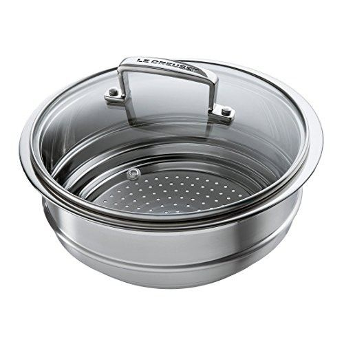 Le Creuset Tri Ply Stainless Steel 8 Inch Steamer Insert 2 3 4 Quart Heat Resistant Glass Stainless Steel Pans Cookware Accessories