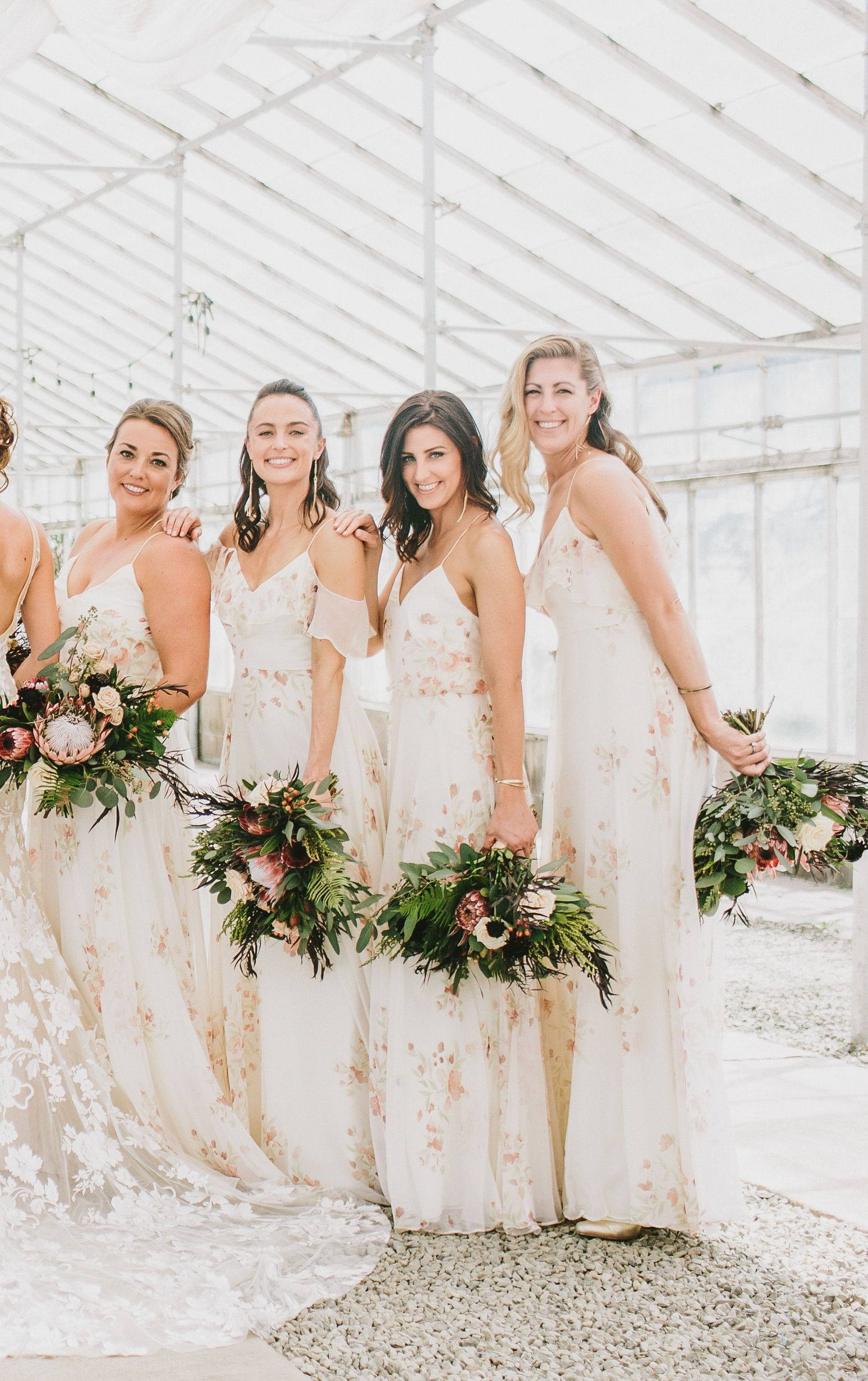 094d766dc Jenny Yoo Bridesmaids Dress, Long 'Mila' in Soft Blush Chai Eden Bouquet.  Long Print Dress in this gorgeous engagement shoot session features draped  sleeves ...