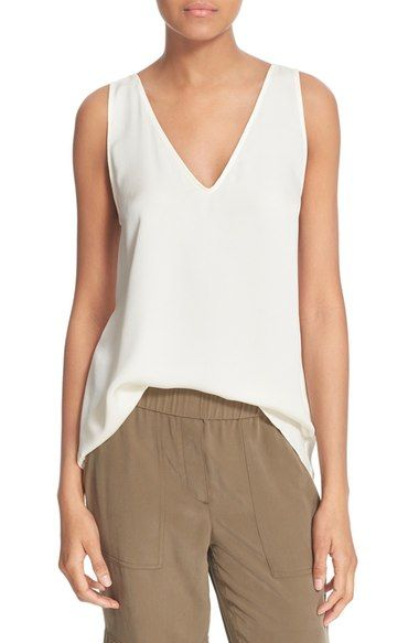 cc48f1fb643 Theory 'Narcy Z' V-Neck Silk Georgette Tank | White + Gold | Tank ...