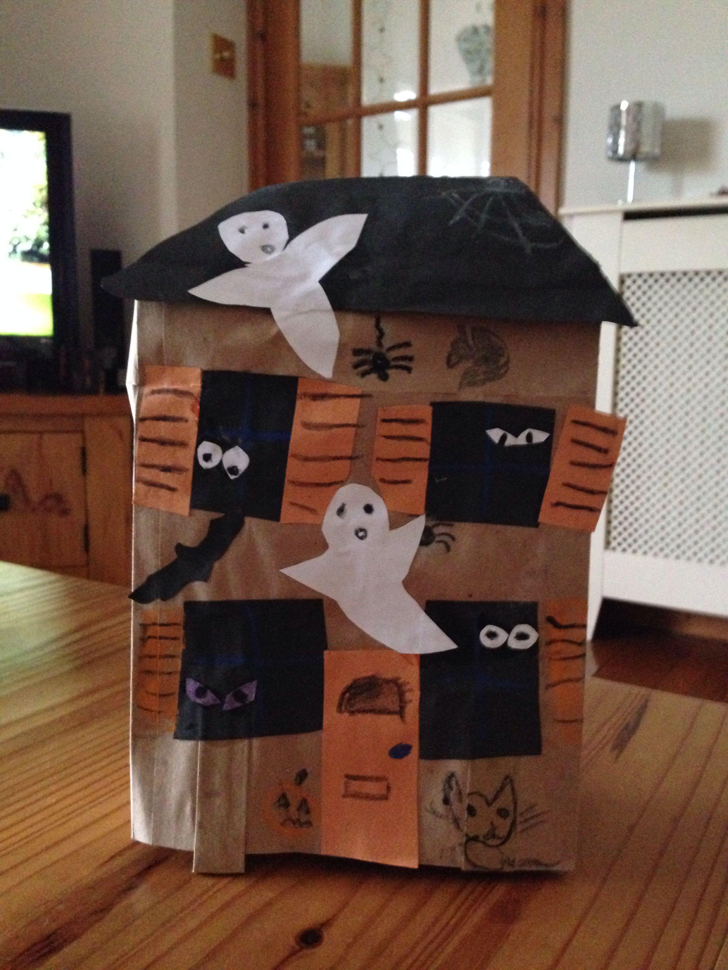 008 Paper bag Haunted house Halloween craft Halloween