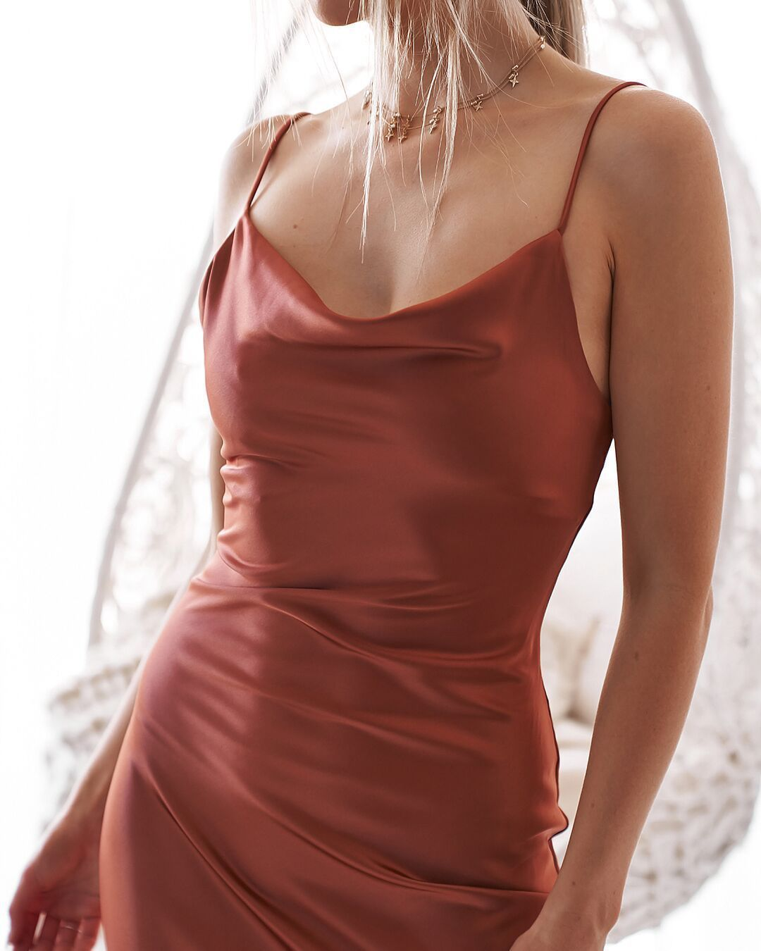 Silk Cowl Neck Slip Dress Burnt Orange Cami Slip Dress Satin Cami Dress Fitted Night Party Dresses Clas Party Dress Classy Satin Dress Long Orange Prom Dresses