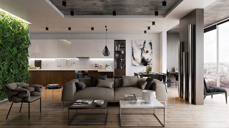 déco cuisine ouverte sur salon moderne, suspensions design et canapé