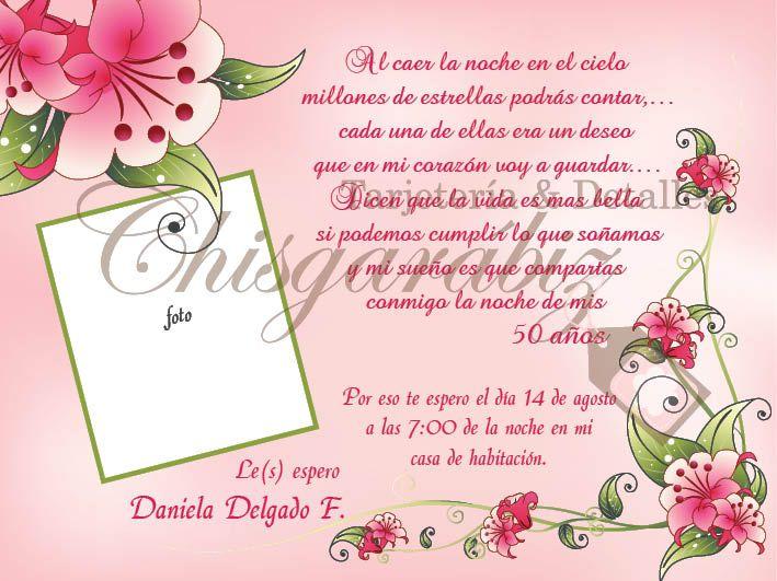 Tarjeta para 50 años mujer - Imagui