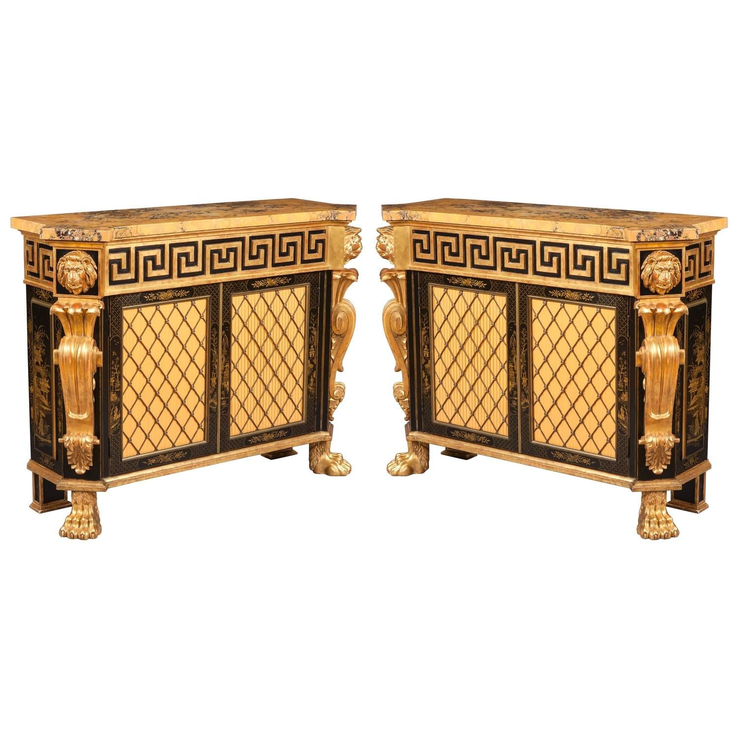 Pair of Highly Decorative Antique Cabinets in the Regency Manner, ca. 1900  £45,000