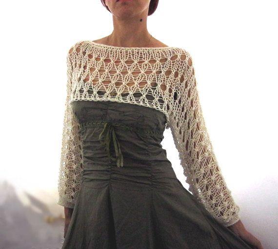 Coton été rognée chandail haussent les épaules en couleur ivoire, tricoté main, respectueux de l'environnement